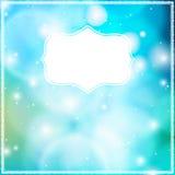 Vector la tarjeta con el marco en fondo azul del bokeh. Fotos de archivo