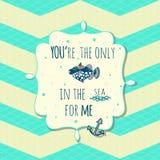 Vector la tarjeta con los pescados y el ancla lindos en cuadro de texto Imagen de archivo libre de regalías