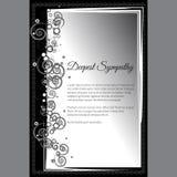 Vector la tarjeta de condolencia más profunda con adorno floral abstracto elegante Fotos de archivo libres de regalías