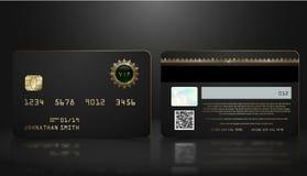 Vector la tarjeta de crédito negra realista con el fondo geométrico abstracto Plantilla oscura de oro del diseño de la tarjeta de