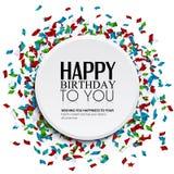 Vector la tarjeta de cumpleaños con confeti y texto del cumpleaños Imagenes de archivo