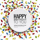 Vector la tarjeta de cumpleaños con confeti y texto del cumpleaños Fotografía de archivo libre de regalías