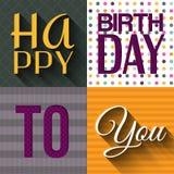 Vector la tarjeta de cumpleaños con deseos mandan un SMS en retro Imagenes de archivo