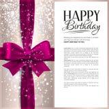 Vector la tarjeta de cumpleaños con la cinta rosada y el cumpleaños Imagen de archivo libre de regalías