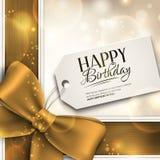 Vector la tarjeta de cumpleaños con la cinta y el texto del cumpleaños Imagen de archivo