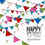 Vector la tarjeta de cumpleaños con las banderas del confeti y del empavesado Foto de archivo libre de regalías