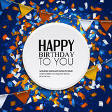Vector la tarjeta de cumpleaños con las banderas del confeti y del empavesado Fotos de archivo