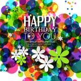 Vector la tarjeta de cumpleaños con las flores en colores brillantes Fotos de archivo libres de regalías