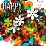 Vector la tarjeta de cumpleaños con las flores en colores brillantes Foto de archivo libre de regalías