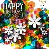 Vector la tarjeta de cumpleaños con las flores en colores brillantes Imagen de archivo
