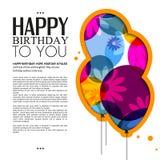 Vector la tarjeta de cumpleaños con los globos del color, flores Imágenes de archivo libres de regalías
