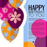 Vector la tarjeta de cumpleaños con los globos y el texto de papel Imagen de archivo libre de regalías