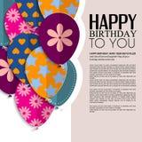 Vector la tarjeta de cumpleaños con los globos y el texto de papel Imagen de archivo