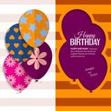Vector la tarjeta de cumpleaños con los globos y el texto de papel Fotografía de archivo libre de regalías