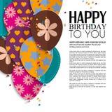 Vector la tarjeta de cumpleaños con los globos y el texto de papel Fotos de archivo libres de regalías