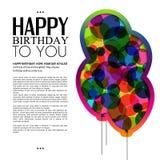 Vector la tarjeta de cumpleaños con los globos y el texto del color Imagen de archivo libre de regalías