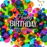 Vector la tarjeta de cumpleaños en colores brillantes en polca Fotografía de archivo