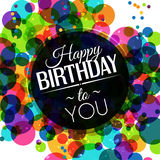 Vector la tarjeta de cumpleaños en colores brillantes en polca Imagen de archivo
