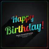 Vector la tarjeta de cumpleaños retra, con el texto colorido del cumpleaños en fondo del metal Foto de archivo libre de regalías