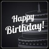 Vector la tarjeta de cumpleaños retra, con el texto del cumpleaños y la torta en fondo del metal Imagen de archivo libre de regalías
