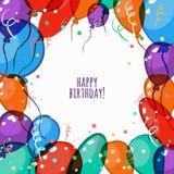 Vector la tarjeta de cumpleaños con el marco colorido de los balones de aire Imágenes de archivo libres de regalías