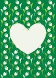 Vector la tarjeta de felicitación con los corazones blancos, las flores blancas y el fondo verde libre illustration