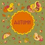 Vector la tarjeta de felicitación del tema del otoño con el espacio para su texto Foto de archivo