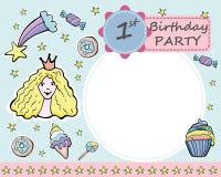Vector la tarjeta de felicitación de la fiesta de cumpleaños del th del bebé 1 Caramelos, anillos de espuma, ilustración del vector