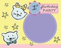 Vector la tarjeta de felicitación de la fiesta de cumpleaños del th del bebé 1 Poco kitt lindo ilustración del vector