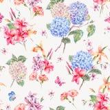Vector la tarjeta de felicitación floral del vintage con las hortensias, orquídeas ilustración del vector