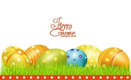 Vector la tarjeta de felicitación para Pascua con los huevos de Pascua Imagen de archivo