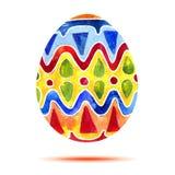 Vector la tarjeta de felicitación Pascua feliz, huevo de Pascua colorido de la acuarela con la sombra Foto de archivo