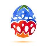 Vector la tarjeta de felicitación Pascua feliz, huevo de Pascua colorido de la acuarela con la sombra Imagenes de archivo