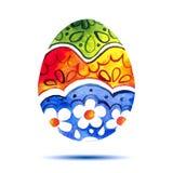 Vector la tarjeta de felicitación Pascua feliz, huevo de Pascua colorido de la acuarela con la sombra Imagen de archivo