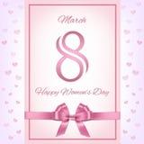 Vector la tarjeta de felicitación rosada del día del ` s de las mujeres ilustración del vector