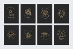 Vector la tarjeta de felicitaciones linear de la Navidad del diseño en fondo oscuro Tipografía e iconos para el fondo de Navidad, libre illustration