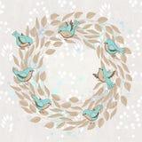 Vector la tarjeta de la primavera con la guirnalda y los pájaros florales Imagenes de archivo