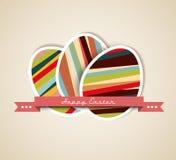 Vector la tarjeta de papel retra del huevo de Pascua Fotos de archivo