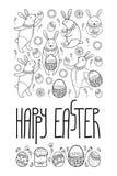 Vector la tarjeta de pascua feliz con el conejo del esquema y los símbolos de Pascua en negro aislados en el fondo blanco Tarjeta stock de ilustración