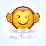Vector la tarjeta del Año Nuevo con un cara-mono sonriente Imagen de archivo