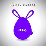 Vector la tarjeta del huevo violeta del conejo de pascua con la barba Imagenes de archivo