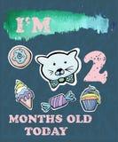 Vector la tarjeta del jalón del bebé para la muchacha o el muchacho Soy dos meses stock de ilustración