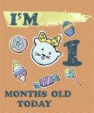 Vector la tarjeta del jalón del bebé para la muchacha o el muchacho Soy un meses stock de ilustración
