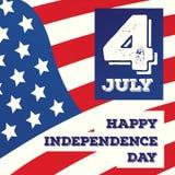 Vector la tarjeta feliz del Día de la Independencia en fondo de la bandera americana Fotos de archivo libres de regalías