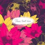 Vector la tarjeta floral con el lugar para su texto Imágenes de archivo libres de regalías