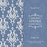 Vector la tarjeta gris de la invitación del vintage 3d con el modelo floral del damasco Fotografía de archivo