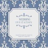 Vector la tarjeta gris de la invitación del vintage 3d con el modelo floral del damasco Fotos de archivo libres de regalías