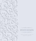 Vector la tarjeta gris de la invitación del vintage 3d con el modelo floral del damasco Imágenes de archivo libres de regalías