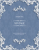 Vector la tarjeta gris de la invitación del vintage 3d con el modelo floral del damasco Foto de archivo libre de regalías