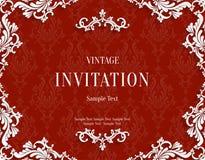 Vector la tarjeta roja de la invitación del vintage 3d con el modelo floral del damasco Fotos de archivo